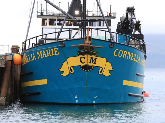 The front of the Cornelia Marie in the water