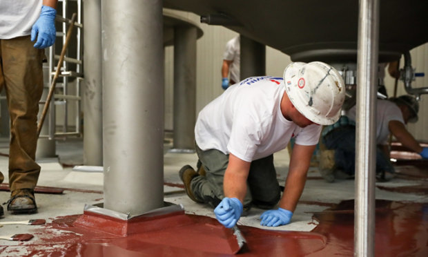 Urethane concrete resin floor install at brewery