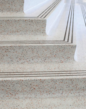 Terrazzo floor and stairs at a school