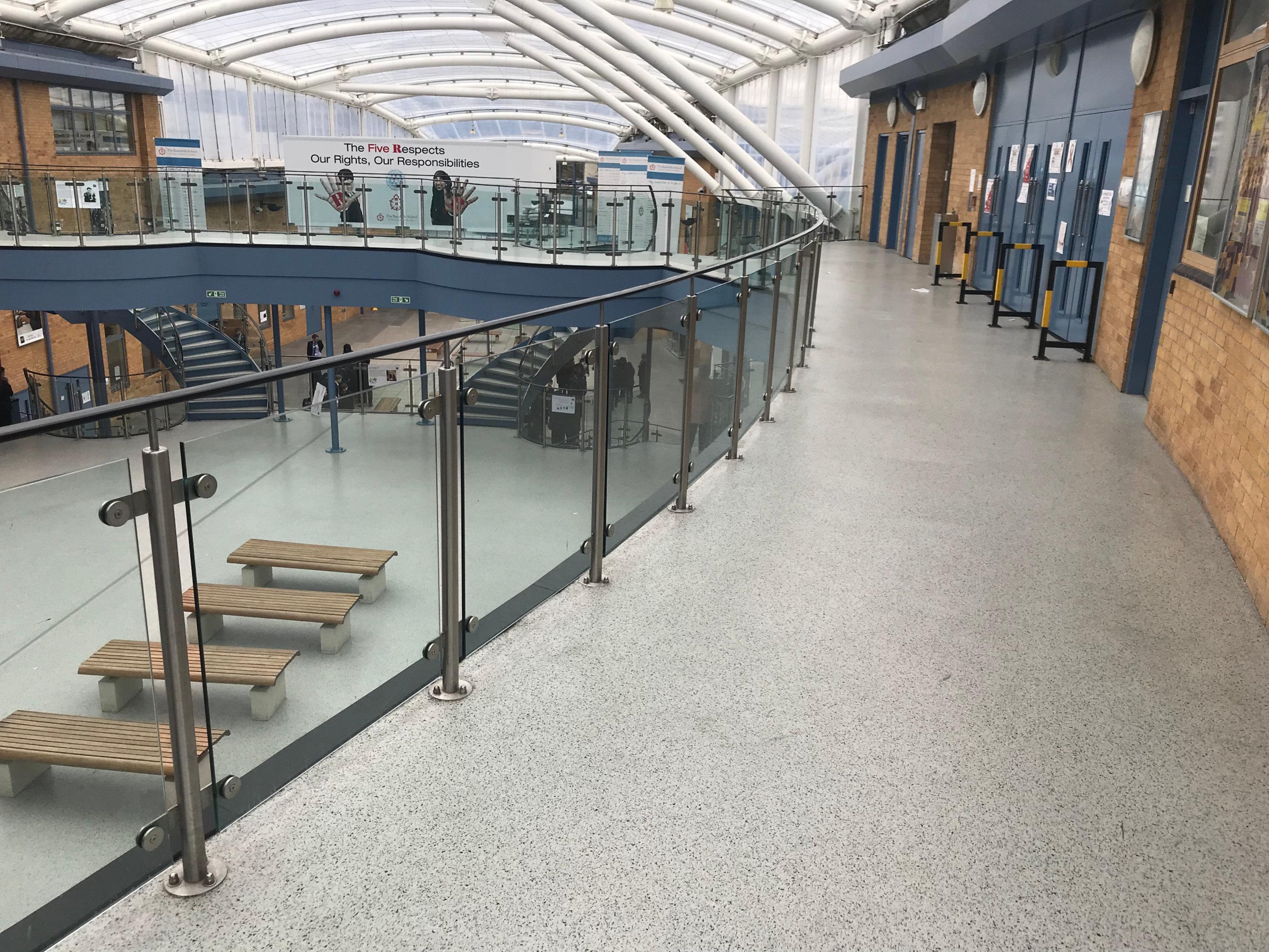 Resin floor in school
