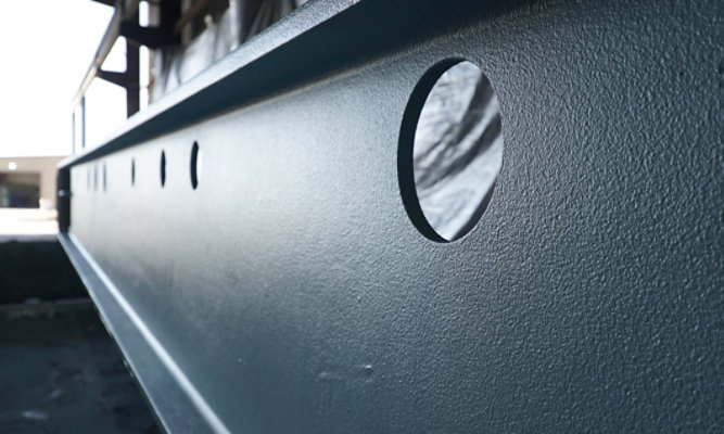 Close-up of steel beam with FX9502 finish