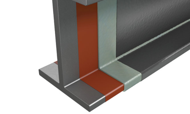 Illustrated steel beam with Firetex FX9502 protection
