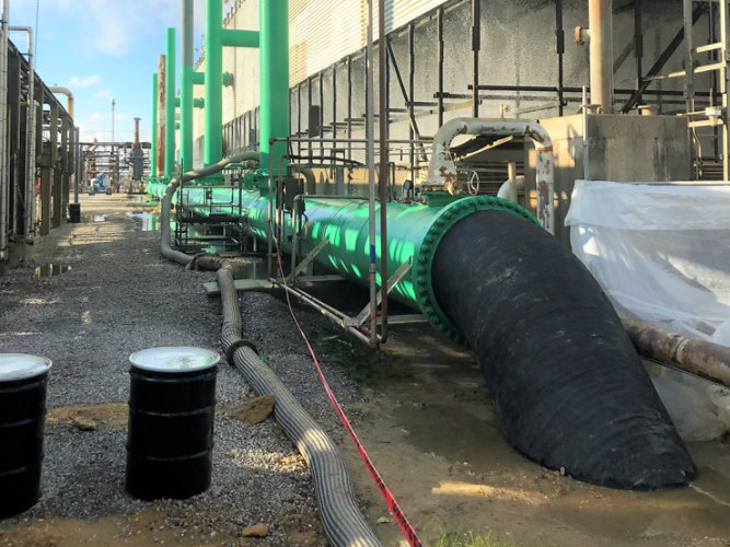 oil pipes showing secondary containment areas