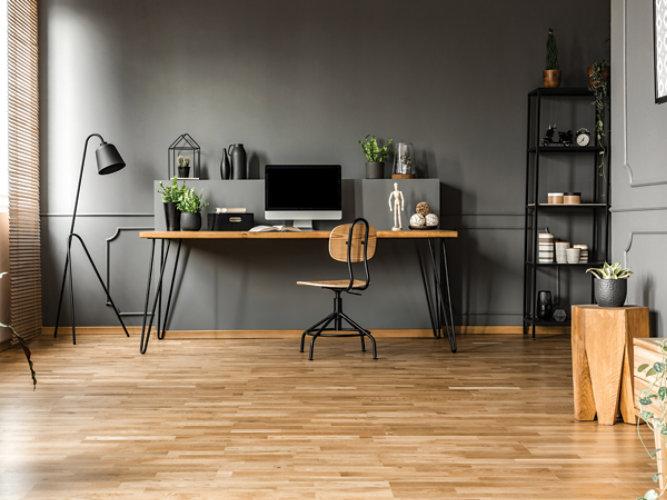 wood floor and desk