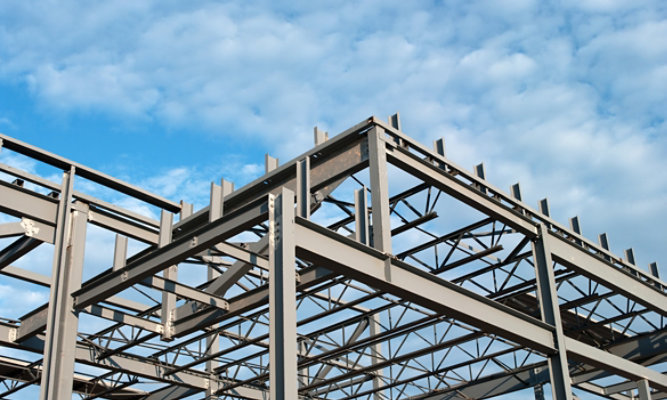 The steel framing of a structure