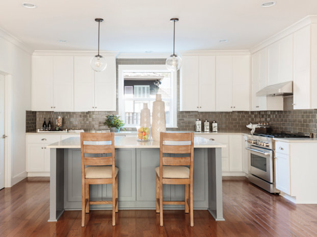 blue and gray kitchen cabinets
