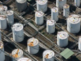 overhead view of oil and gas tanks