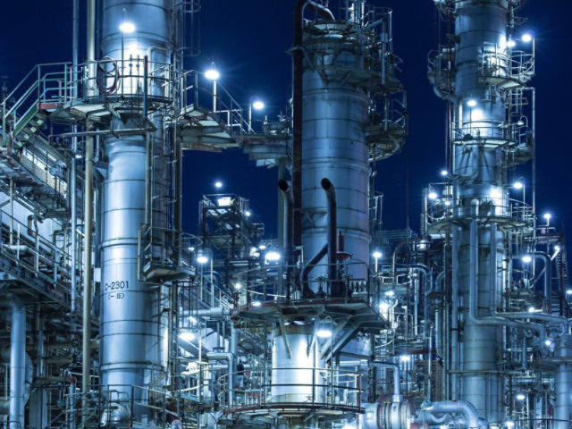 An oil & gas refinery at night