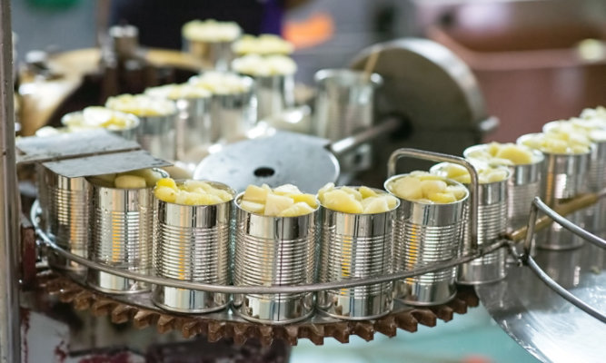 food cans filled with fruit on conveyor line