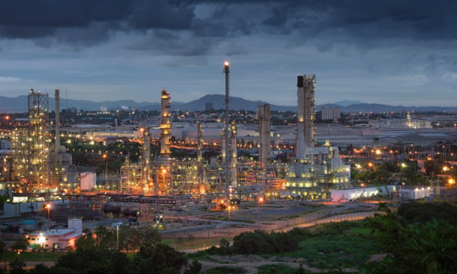 An oil and gas refinery