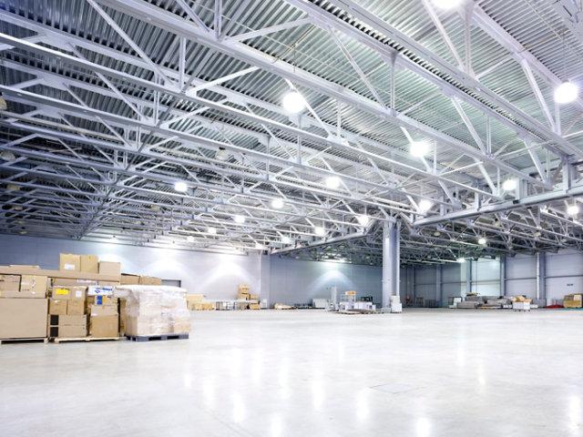 resin floor in industrial warehouse