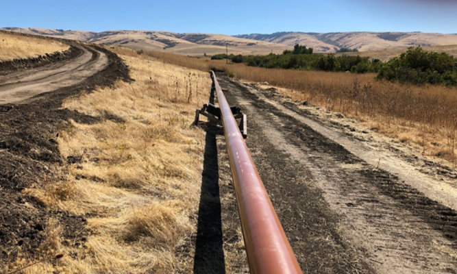 Oil & gas pipelines running across the ground