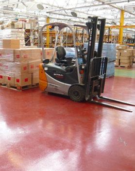 Resinous floor in industrial facility