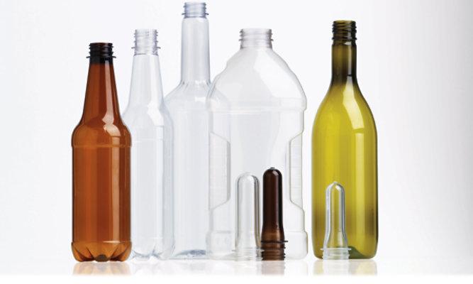 Series of plastic bottles in various colors