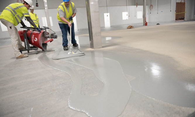 resinous flooring application in food and beverage facility