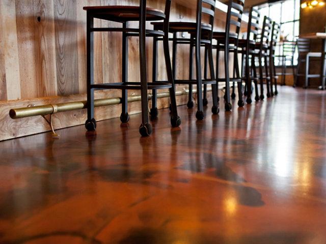 resinous floor in restaurant