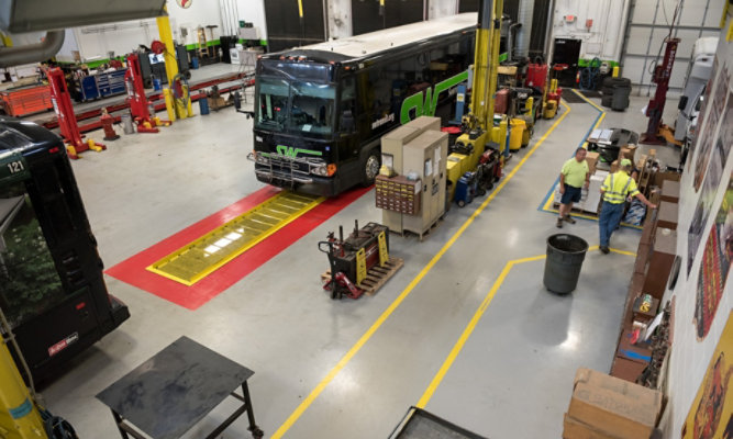 Troweled Mortar Flooring at SouthWest Transit - After Floor was Applied