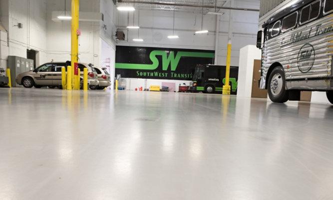 Troweled Mortar Flooring at SouthWest Transit