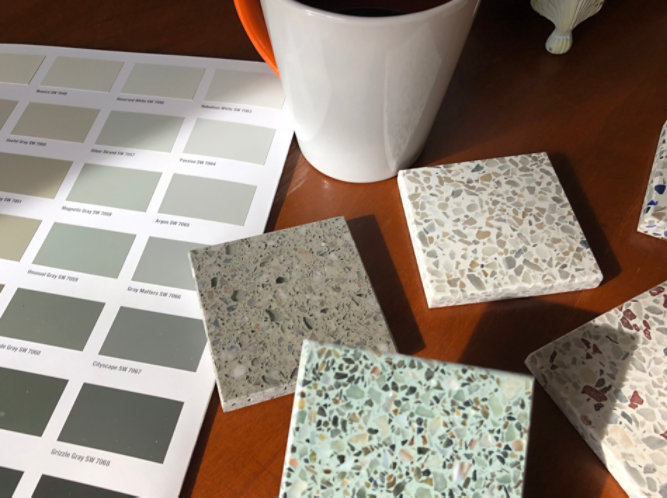 terrazzo samples and color card on desk
