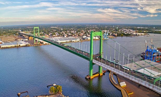 Walt Whitman bridge covered with Sherwin-Williams coatings
