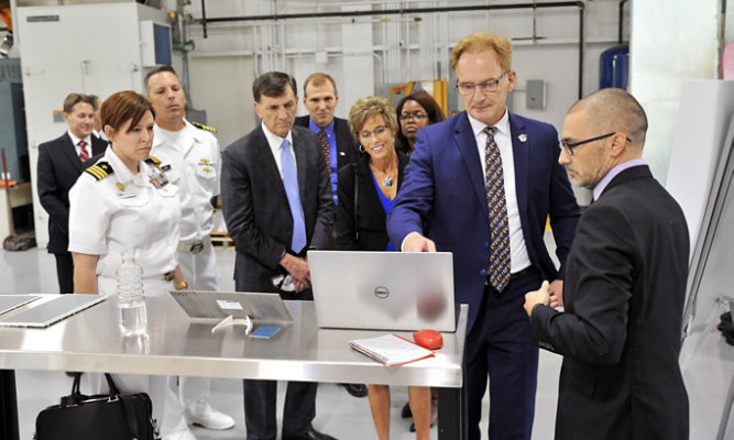 A large group presentation at the company's Warrensville, Ohio, R&D lab.