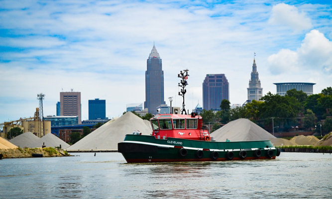 A tug bot from the Great Lakes Towing Company
