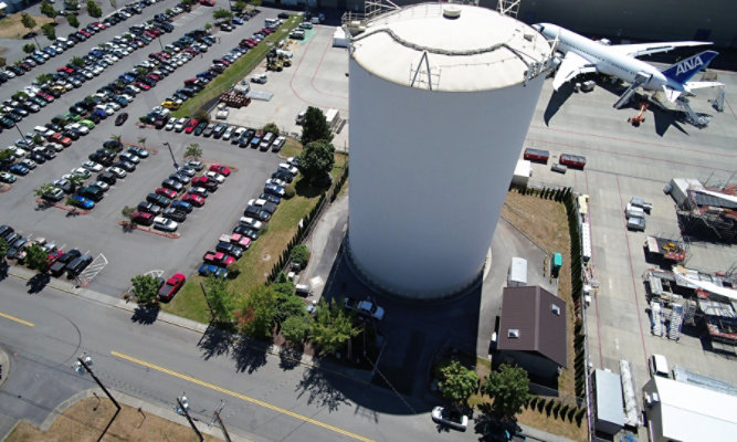 Aerial view of Paine Field water tank at in Everett, Washington
