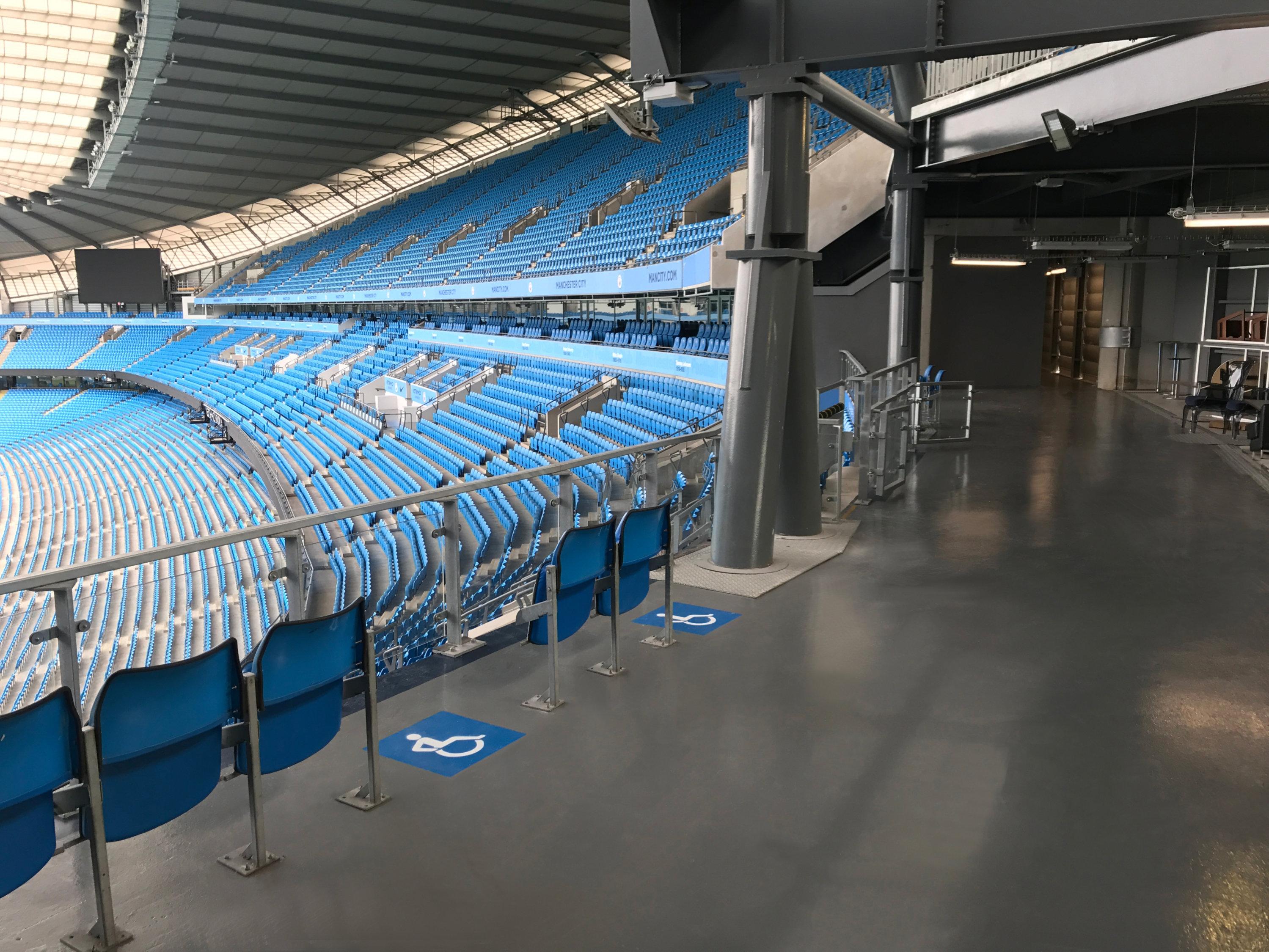 Resin floor in stadium concourse