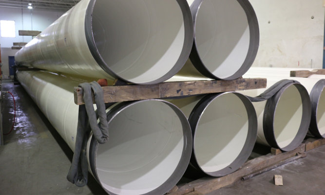 Staging area for pipes ready to be delivered to installation site