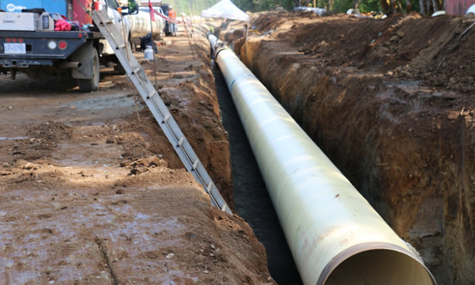 Pipes laid into ground