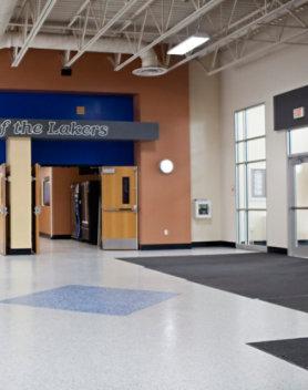 Resinous floor in high school lobby
