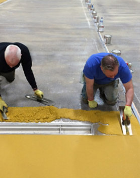 Resinous floor in food processing plant