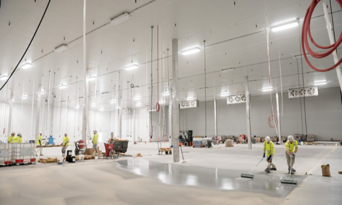 wide open food and beverage facility getting new flooring