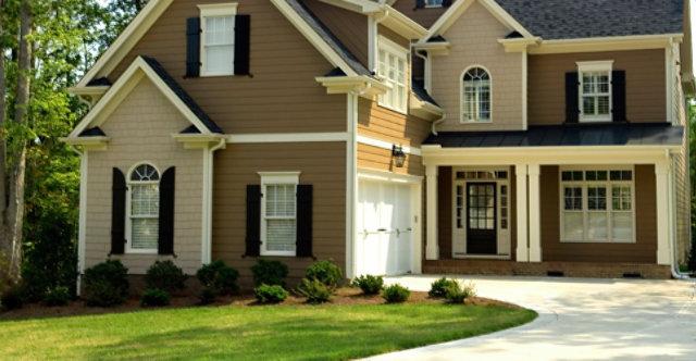 house with tan siding
