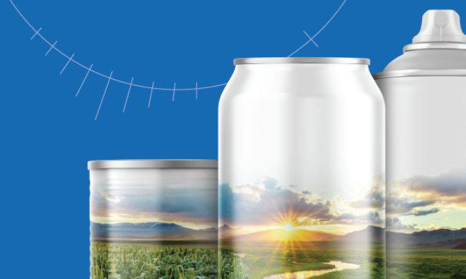 cans with farm scene overlay