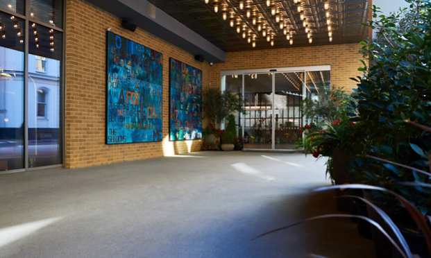 Resinous Floor in Hotel Entryway