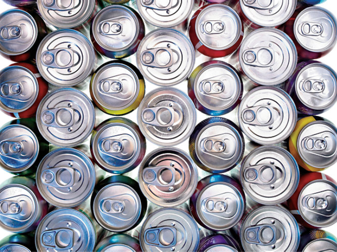 food and beverage cans stacked with easy open ends showing