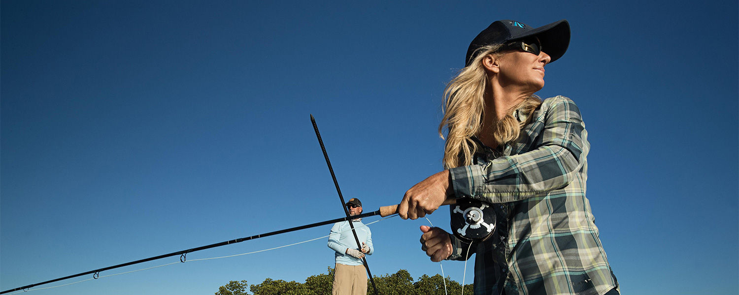 Meredith McCord flyfishing the flats with CA Richardson