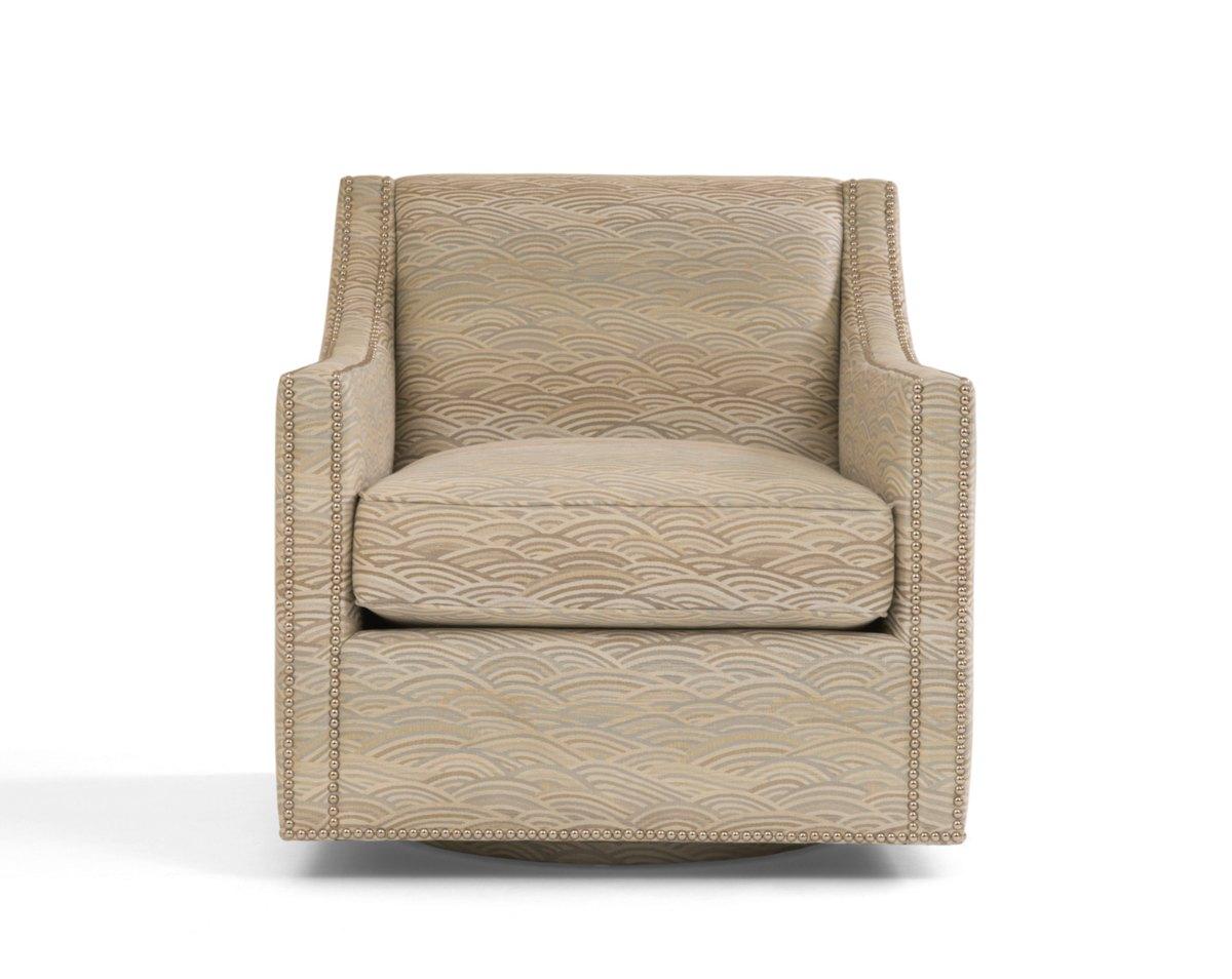 Orange damask chair - Oxford Swivel Club Chair