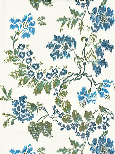 KEW GARDENS WARP PRINT BLUES ON IVORY