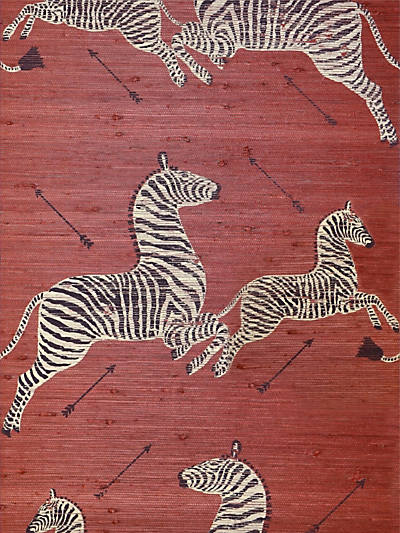ZEBRAS - GRASSCLOTH RED