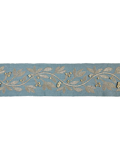 LAUREL EMBROIDERED TAPE BLUESTONE