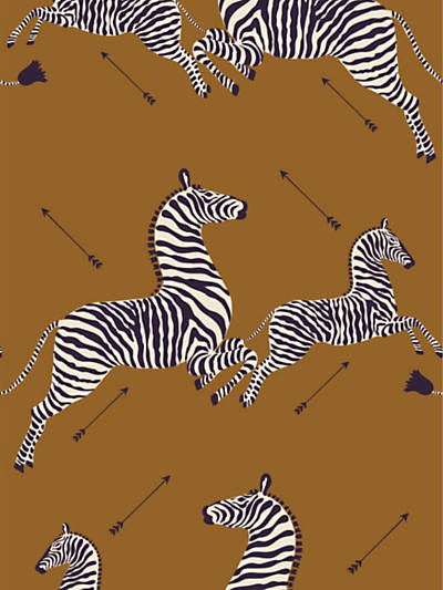 ZEBRAS - WALLPAPER SAFARI BROWN