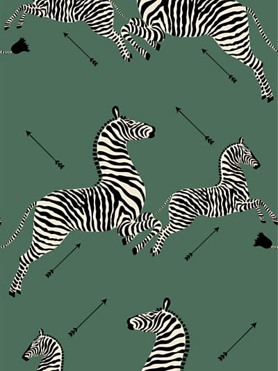 ZEBRAS - WALLPAPER SERENGETI GREEN