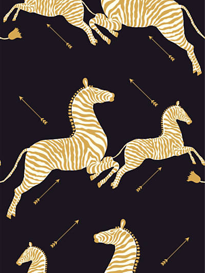 ZEBRAS - WALLPAPER BLACK