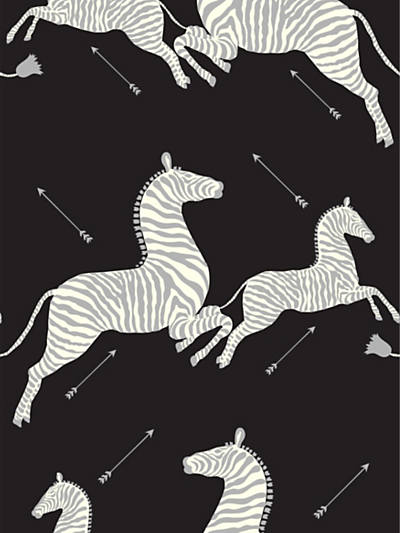 ZEBRAS - WALLPAPER BLACK & SILVER