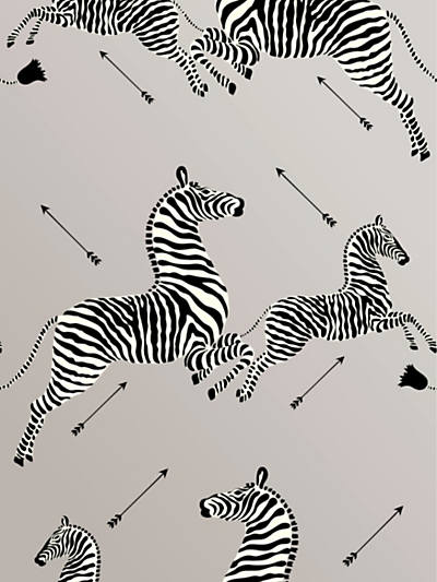 ZEBRAS - WALLPAPER SILVER