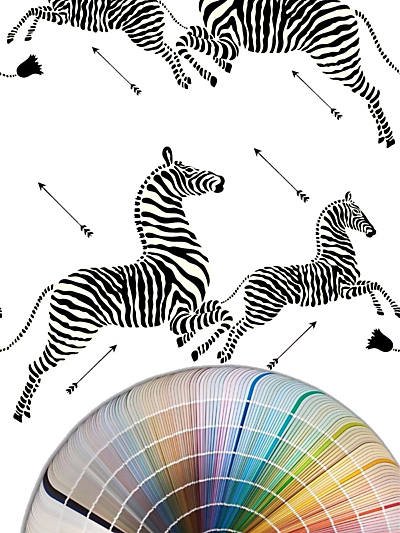 ZEBRAS - WALLPAPER CUSTOM COLOR