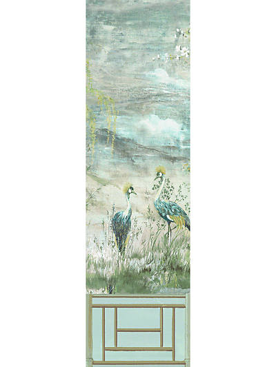 CRESTED CRANE - PANEL 3 GREEN GOLD
