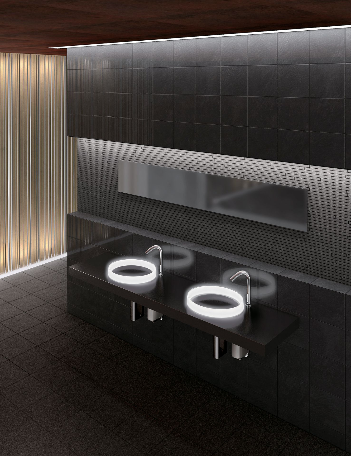 cuve de lavabo ronde avec clairage luminist. Black Bedroom Furniture Sets. Home Design Ideas